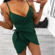 Female Sexy Spaghetti Strap Sleeveless Dresses 2019 New Summer Women V-Neck Mini Dress irregular Black Green irregular Dress