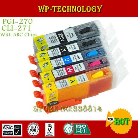 Combinaison de cartouche rechargeable à encre complète 5PK pour PGI270 CLI271, combinaison pour MG5720 MG5721 MG5722 MG6820 MG6821 MG6822 MG7720, avec ARC