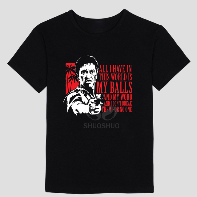 3cf3fbd58aaed Nova camiseta tony montana scarface filme moda dos homens t camisas de  algodão de manga curta