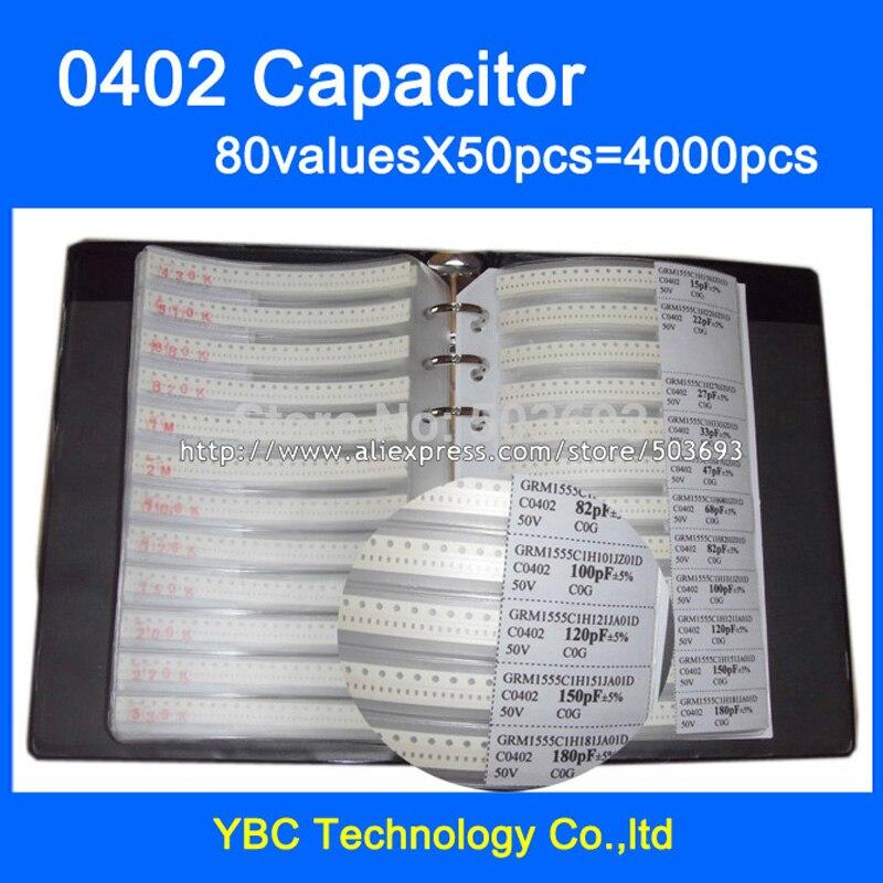 Free Shipping 0402 SMD Capacitor Sample Book 80valuesX50pcs=4000pcs 0.5PF~1UF Capacitor Assortment Kit Pack