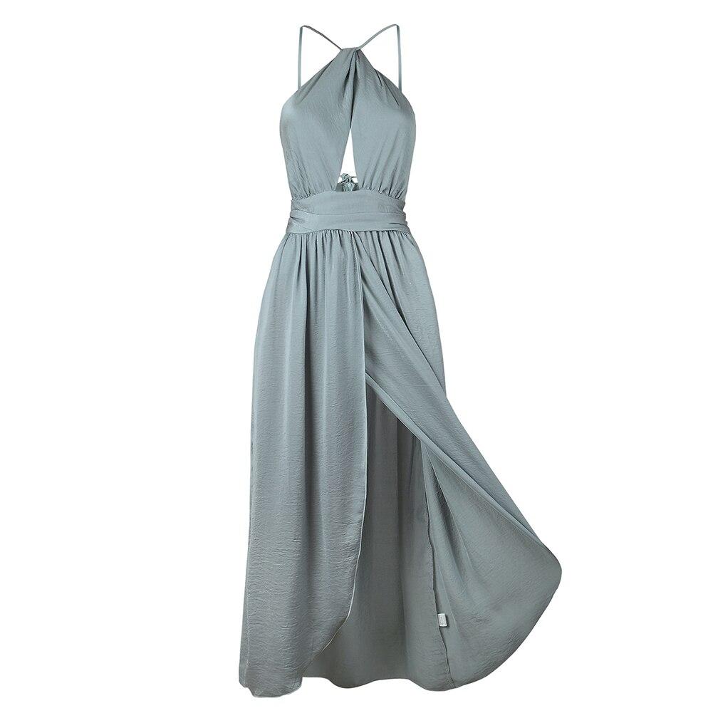 women Elegant backless satin long dress female bandage party dress ...
