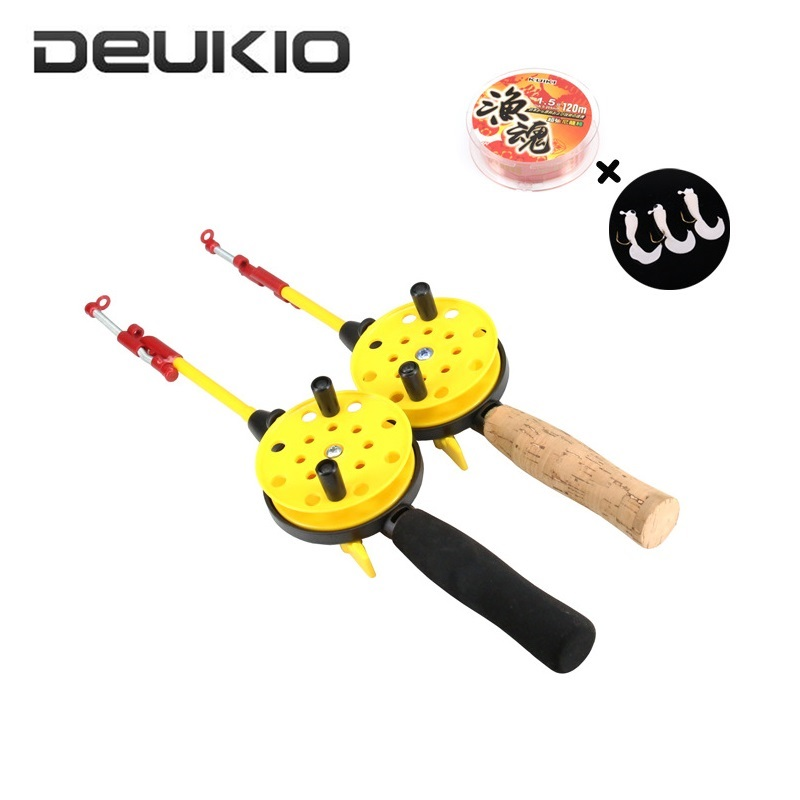 Deukio Mini Telescopic Ice Fishing Rod Combo Durable ABS Children Winter Fishing Tackle Set with 1.5# Line(China)