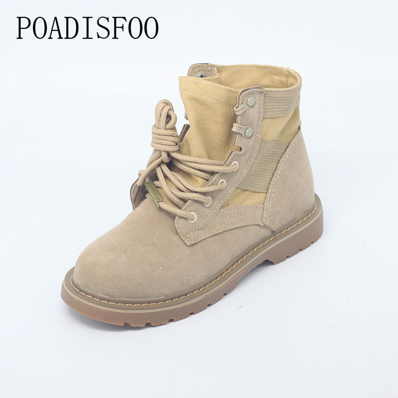 POADISFOO winter women boots Round toe lace-up Martin boots Medium barrel Desert Boot High Quality new  women shoes .HYKL-8911 double barrel toddler boys s andy cowboy boot square toe
