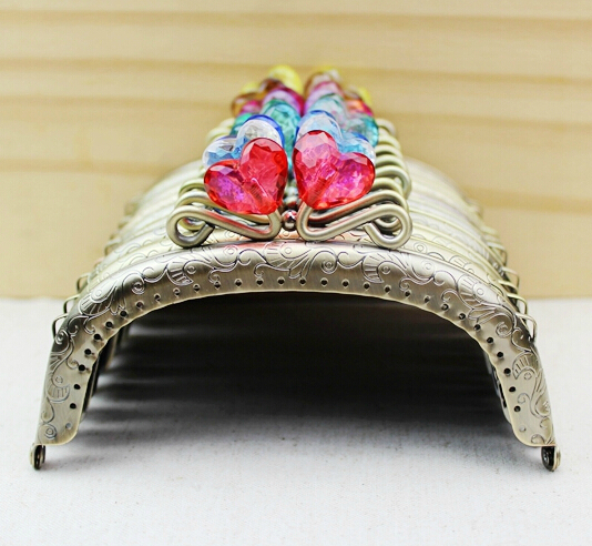 20pcs 12.5cm coin purse frame bag metal frames with crystal heart 22 color coin purse clasp bag metal clutch accessories s0220