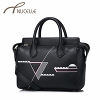 NUCELLE Women PU Leather Handbags Ladies Fashion Printed Geometric Messenger Tote Bags Female Leisure Crossbody Bags