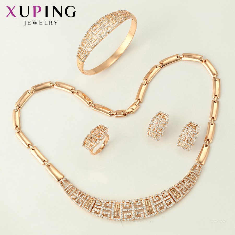 11.11 Xuping Fashion Set New Arrival for Women Gifts Elegant Gold Color Plated Bridal Imitation Jewelry Sets S124.3-65238