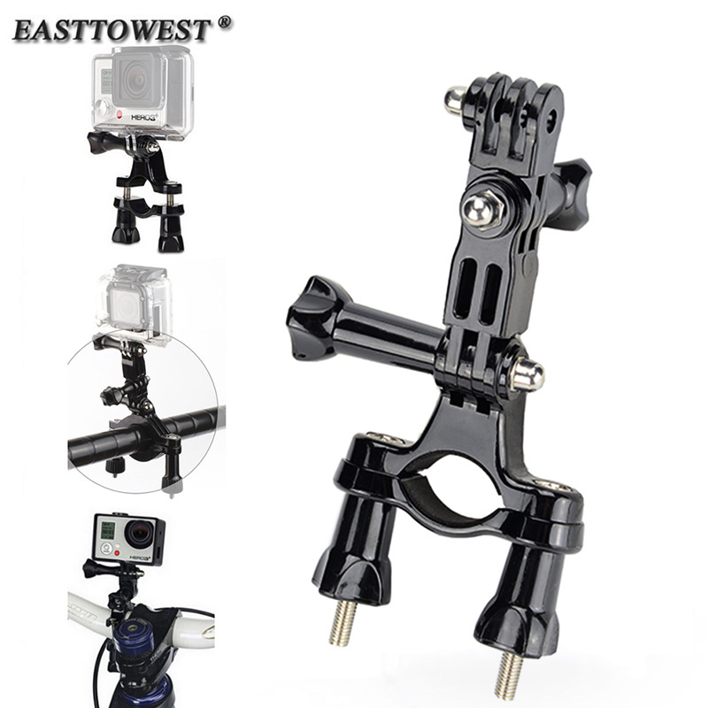 Gopro Mount Bike Motorcycle Handlebar Roll Bar Mount Holder 3 Way Pivot Arm For GoPro Hero 4 3 Xiaomi Yi SJ4000 Action Camera