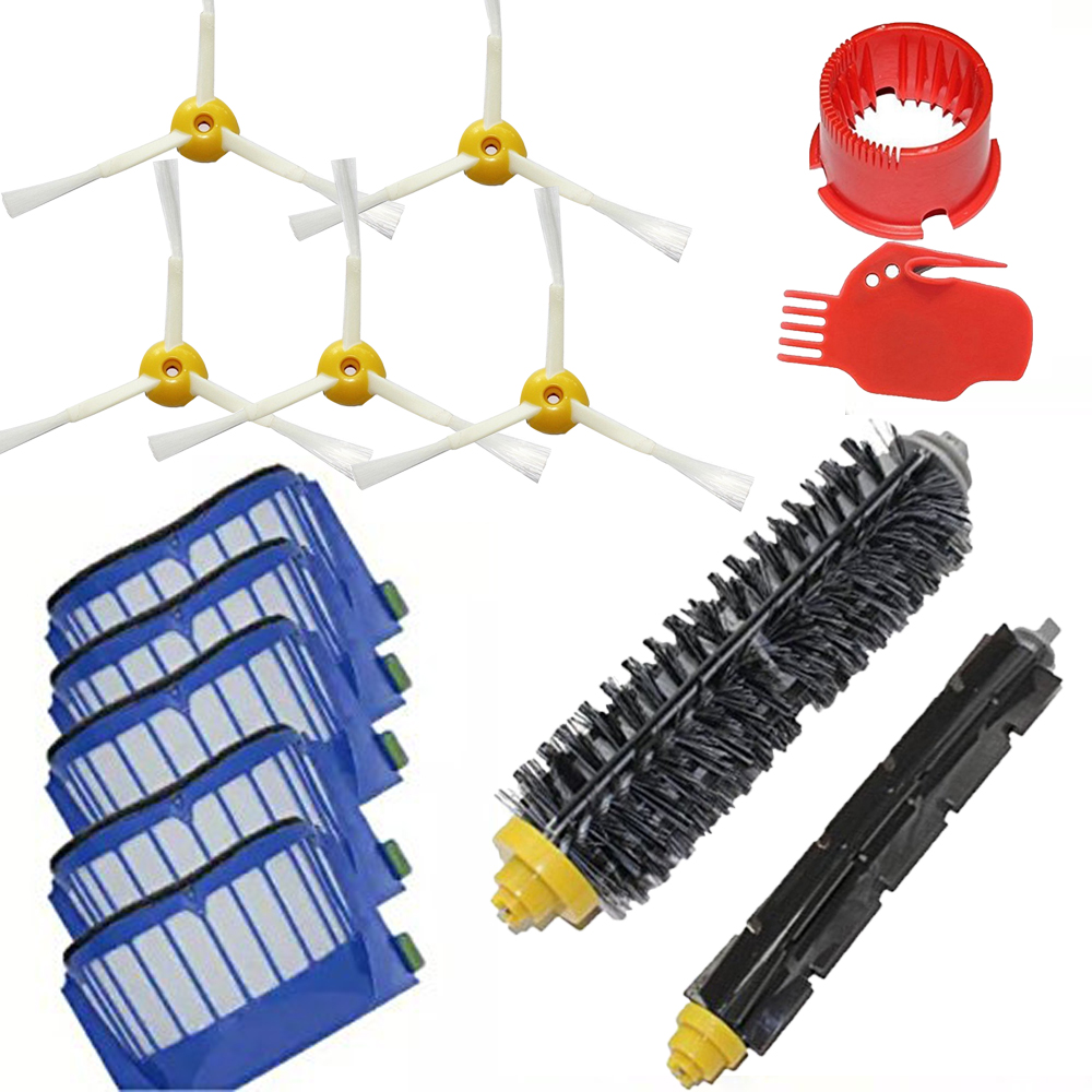 Bristle & Flexible Beater & 5 Armed Brush & 5 Aero Vac Filter for iRobot Roomba 600 Vacuum Cleaners 600 620 630 650 660 aero vac filter bristle brush flexible beater brush 6 armed side brush for irobot roomba 600 series 620 630 650 660 vacuum