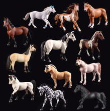 Various of Wild animal model solid simulation childrens toys optional horse white purebred black