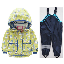 Girls' Jackets European and American Children's Wear Children's Baby Loose Casual Hooded Windbreaker Jacket Set boy jacket european and american wind cotton hooded boy jacket children windbreaker