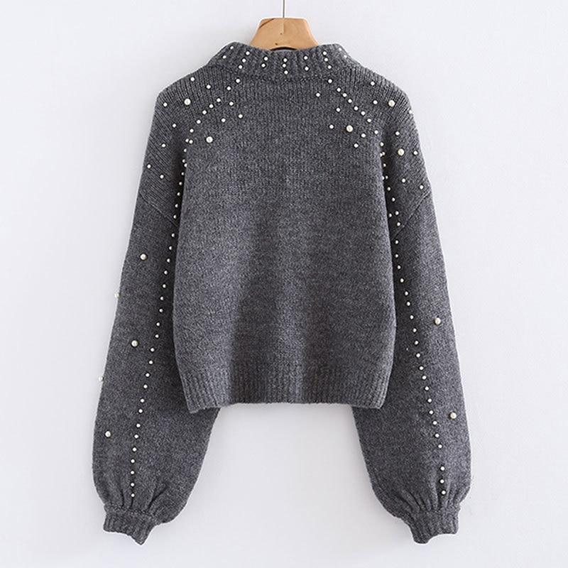 Bigsweety Women Turtleneck Sweaters Pearl Beading Sweater Autumn Winter Warm Lantern Sleeve Women Jumper Pull Knitted Pullovers