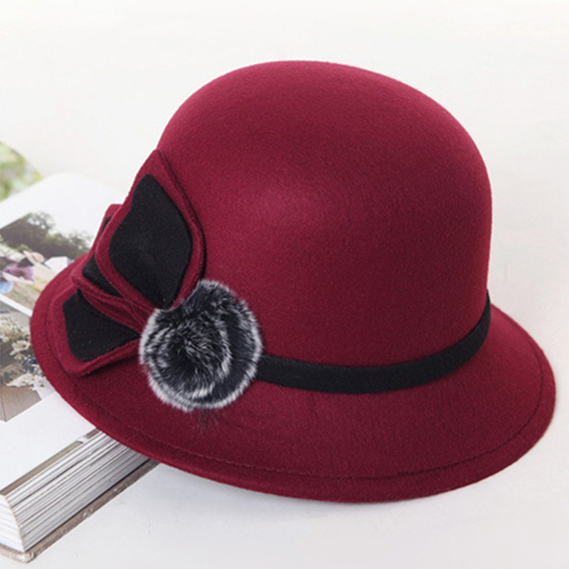 XdanqinX 2019 New Style Spring Autumn Fashion Women 39 s Hat Retro England Warm Fedoras Noble Elegant Flower Decoration Female Hats in Women 39 s Fedoras from Apparel Accessories