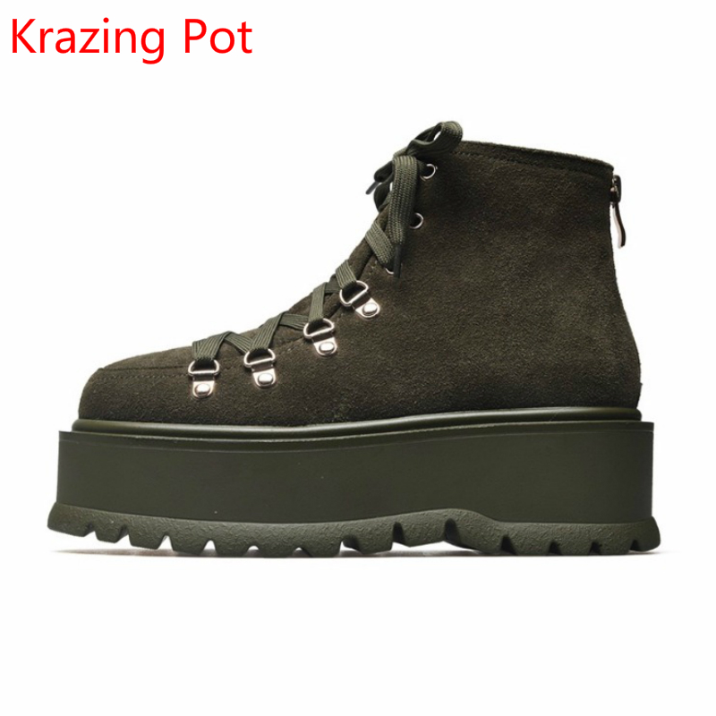 2018 Genuine Leather Bowtie Lace Up Platform Cross-tied Increased Round Toe Fashion Superstar Rivets Ankle Boots for Women L6f3 front lace up casual ankle boots autumn vintage brown new booties flat genuine leather suede shoes round toe fall female fashion