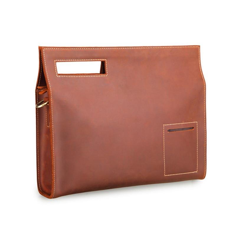 2018 New Retro Genuine Leather Men s Bag Crazy Horse Leather File Briefcase Men Shoulder Messenger