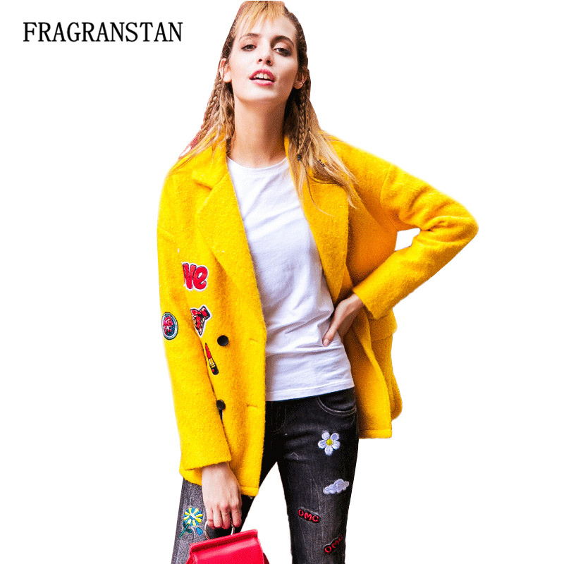 Female Autumn Winter Thick Keep Warm Woolen Coat Fashion Casual Letter Pattern Patch Designs High Quality