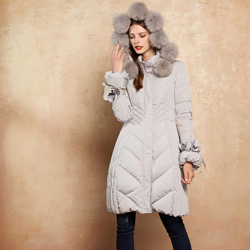 a8077caa Artka 2018 Winter New Women 90% White Duck Down Detectable Fox Fur Pompoms  A-line Bandage Thin Long Down Jacket ZK10173D
