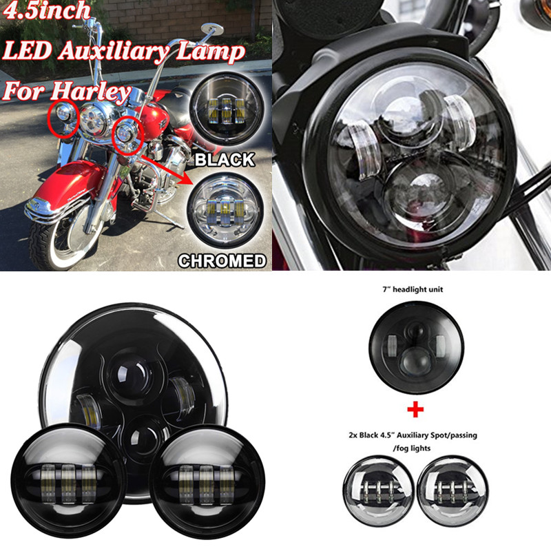 1x 7 inch Black Motorcycle LED Headlight + 2pcs 4-1/2 Fog Lights for Harley David Son harley motorcycle 7 inch orange motorcycle headlight 4 5 fog daymaker hid led light bulb headlight for harley davidson