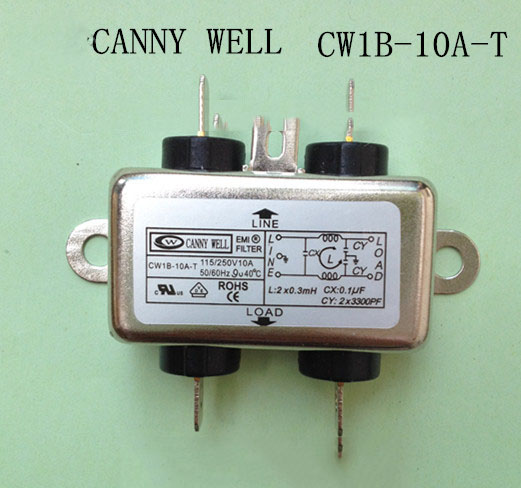 CW1B-10A-T  Metal Case 10A AC 115/250V 50/60Hz Power Line Filter  Electrical Equipment Power Supplies Adapters  рулетка x line metal 50