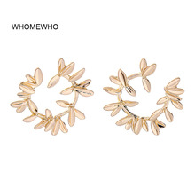 WHOMEWHO Gold Alloy Metal Leaf Leaves Branch Minimalist Hoop Earrings 2019 Spring Fashion Party Jewelry Korean Ear Accessory