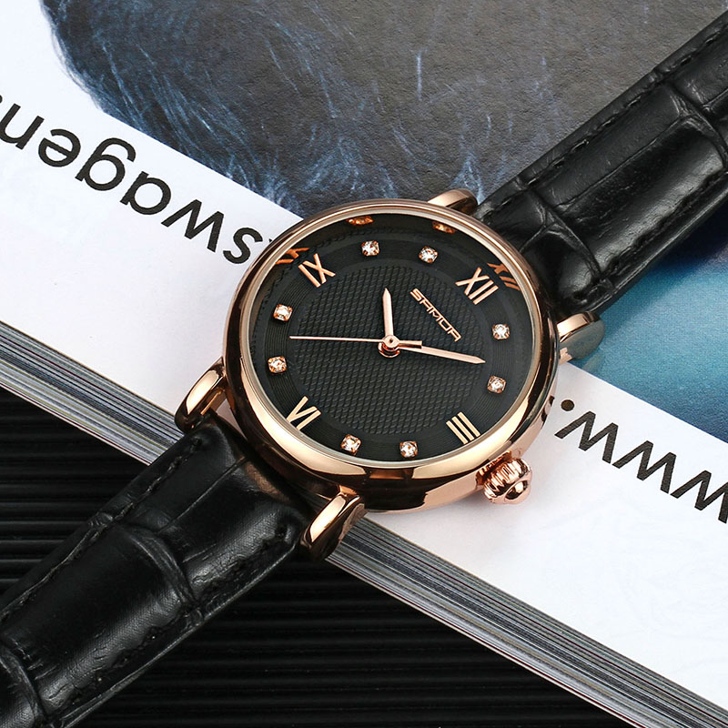SANDA Brand Fashion Leather Bracelet Watches Women Diamond Elegant Dress Wrist watch Geneva Casual Gold Ladies Clock 2018 Saat in Women 39 s Watches from Watches