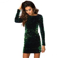 Women's Autumn Winter Warm V neck Back Long Sleeves Slim Sheath Evening Party Club Paillette Dress Green FS0594