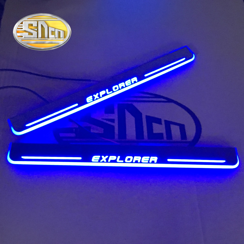 SNCN Waterproof Acrylic Moving LED Welcome Pedal Scuff Plate Pedal Door Sill Pathway Light For Ford