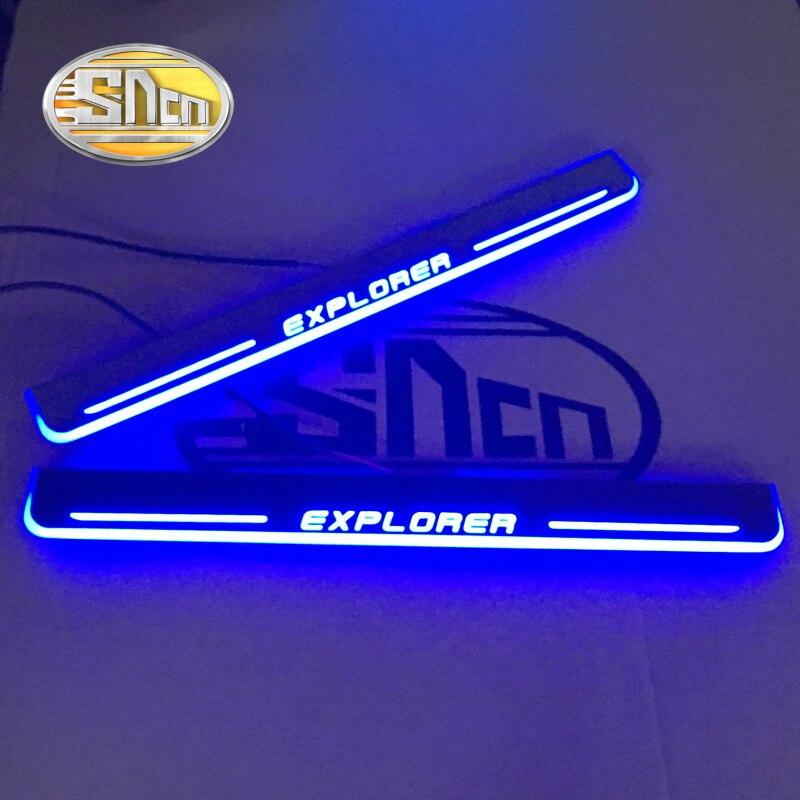 SNCN imperméable acrylique mobile LED bienvenue pédale seuil plaque pédale porte seuil voie lumière pour Ford Explorer 2011-2014