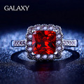 Len Have S925 Logo Real 925 Silver Ring Set Red Zircon Black Gold Rings Wholesale YR037uxury 1 Carat CZ Wedding Rings for Wom