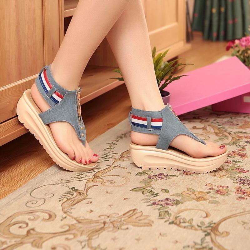 Wedges Shoes For Women High Heel Summer Ladies Gladiator Sandals Woman Platform Cowboy Zipper Sandalias Mujer 2018 hj98 2