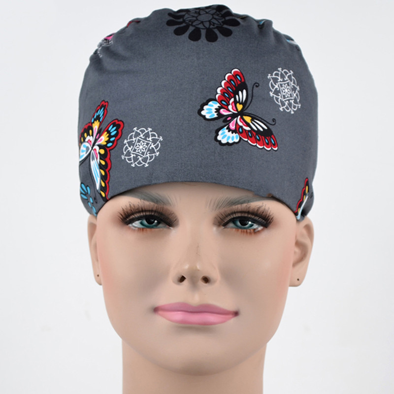 Grey Butterfly Print Nursing Scrub Cap Surgical Caps Medical Hat For Women Hospital OR Working Hats Adjustable Dentist Cap