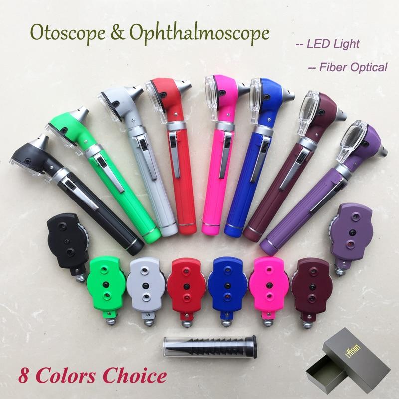 LED Fiber Optic Otoscope Ophthalmoscope Ear Care ENT Diagnostic Examination Kit Gift boxes