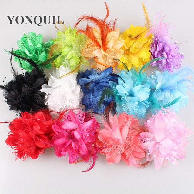 Free shipping 36 pieces/lot 14 colors assorted silk flower nice flowers hair bands party headpieces DIY hair accessories SYBB22