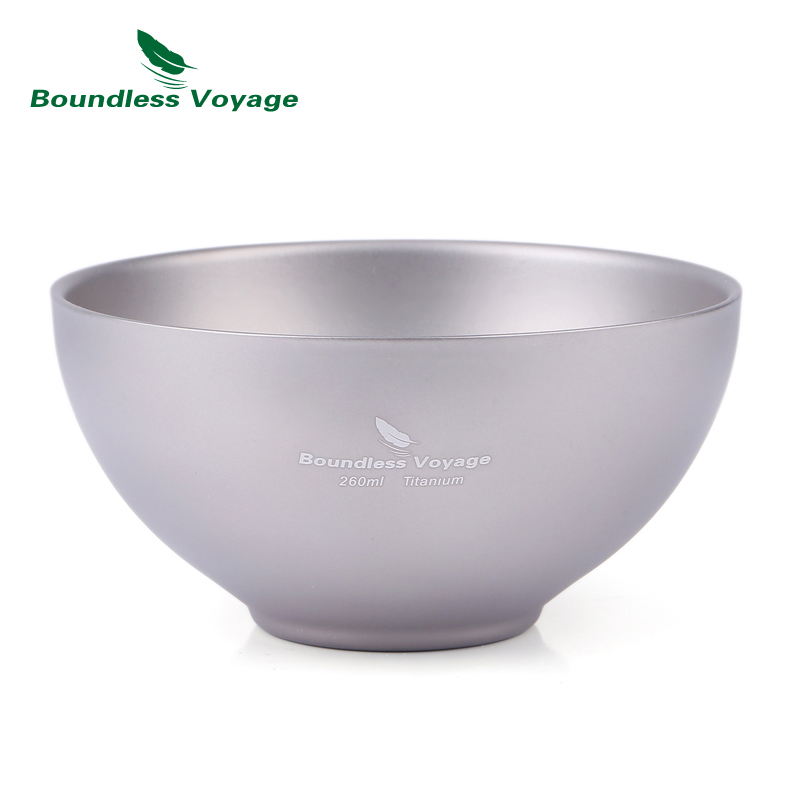 Boundless Voyage Titanium Bowl Outdoor Camping Tableware Picnic Portable Bowl for Rice, soup,food Ti1537B boundless voyage 2 pcs lot titanium bowl pot set with folding handle outdoor camping picnic pan ultralight cooking tableware