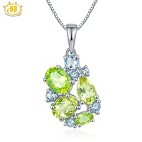 Hutang Gemstone Jewelry Real Peridot Lemon Quartz Aquamarine Solid 925 Sterling Silver Pendant Necklace Fine Fashion Jewelry