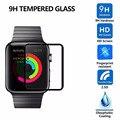 100 pc/lot cubierta completa pantalla de cristal templado para apple watch 38 42 protector 9 h 2.5d círculo negro para apple watch película de vidrio inteligente