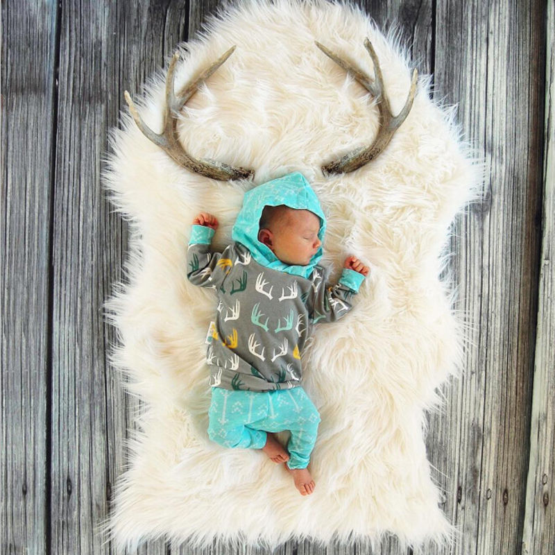 Newborn Baby Girl Boy Clothes Deer Tops T-shirt+Pants Leggings 2pcs Outfits Set