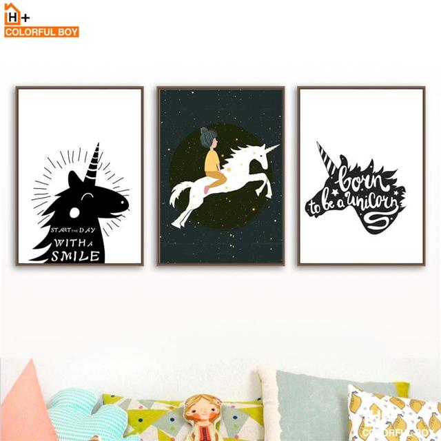 Colorfulboy unicorn girls quote wall art print canvas painting nordic poster animal pop art wall pictures