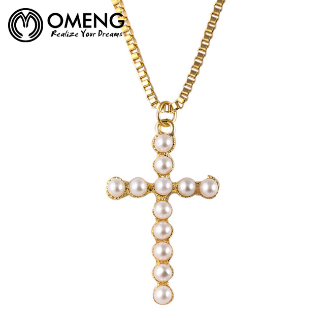 Omeng rosary chain simulated pearl cross pendants necklace statement omeng rosary chain simulated pearl cross pendants necklace statement long necklace jewelry for women oxl248 aloadofball Image collections