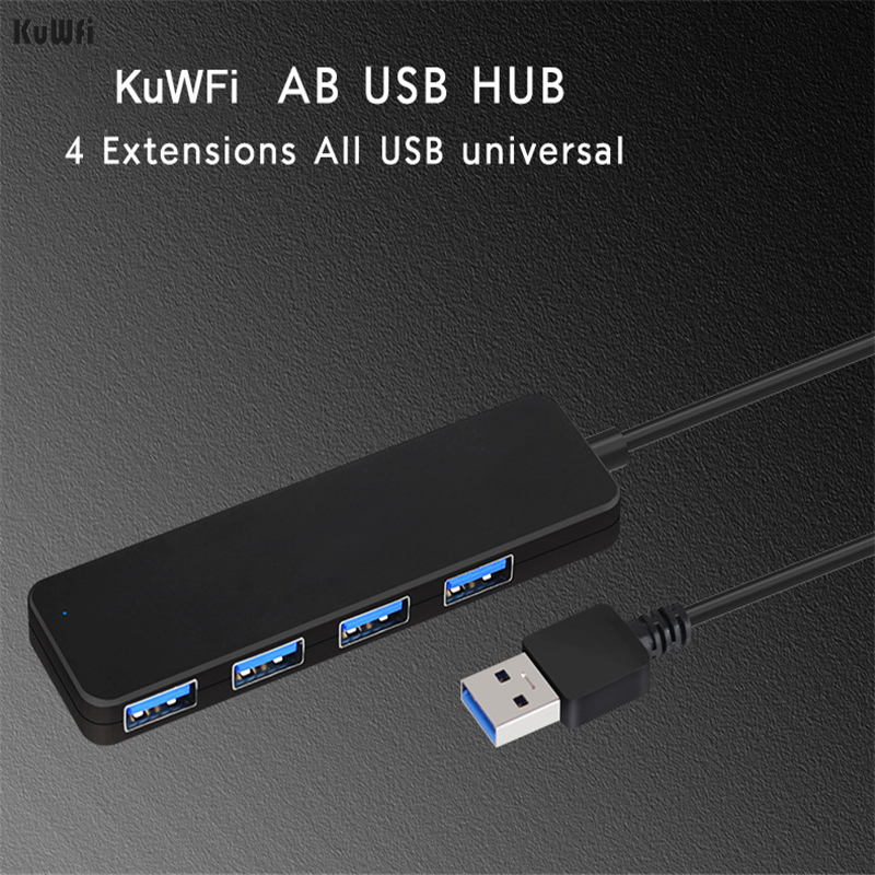 KuWFi USB Hub With 4 Ports Usb External Splitter With Micro Port Charging For Computer Accessories Imac Laptop USB Hub Adapter