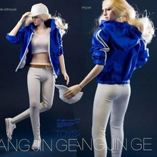 цены на 1:6 Scale Sexy Female figure Clothes Suit Blue Sportswear Jacke & white vest +pants Costume clothing Set  F 12