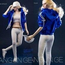 1:6 Scale Sexy Female figure Clothes Suit Blue Sportswear Jacke & white vest +pants Costume clothing Set  F 12