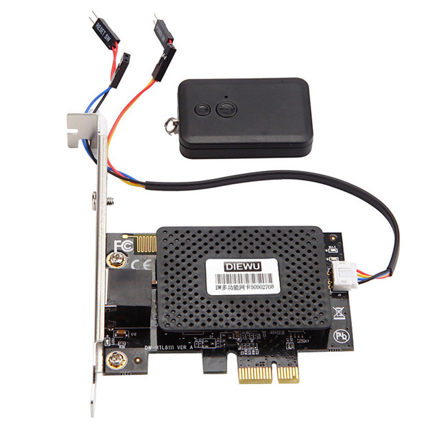 Multifunction 10/100/1000 Mbps PCI-E PCI Express to RJ45 Gigabit Network Card with Remote Control to Turn On / Off Desktop PC