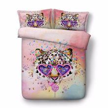 Детский комплект постельного белья из 4 предметов с леопардовой