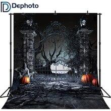 DePhoto fotografía telón de fondo de miedo Halloween calabaza puerta Zombie noche telón de fondo fotográfico Fondo de estudio