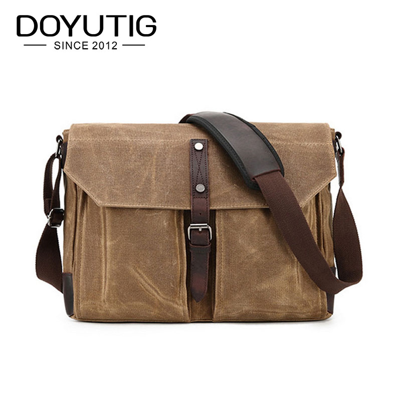 Classical Men & Women Canvas Crossbody Bag With Crazy Horse Leather European Style Casual Shoulder Bags For School & Travel G064 цена