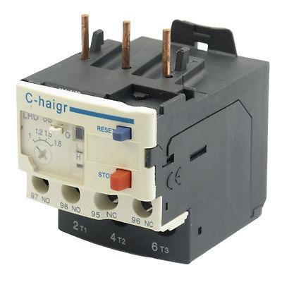 3 Pole AC 1A - 1.6A Electric Thermal Overload Relay 1 NO 1 NC Hrzbc ac 3 2a 5a motor protection thermal overload relay 1 no 1 nc