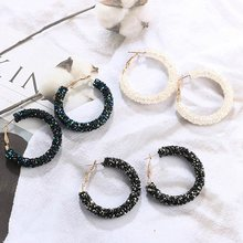 Brand New Design Fashion Charm Austrian Crystal Hoop Earrings Geometric Round Shiny Rhinestone Big Earring Jewelry Women(China)
