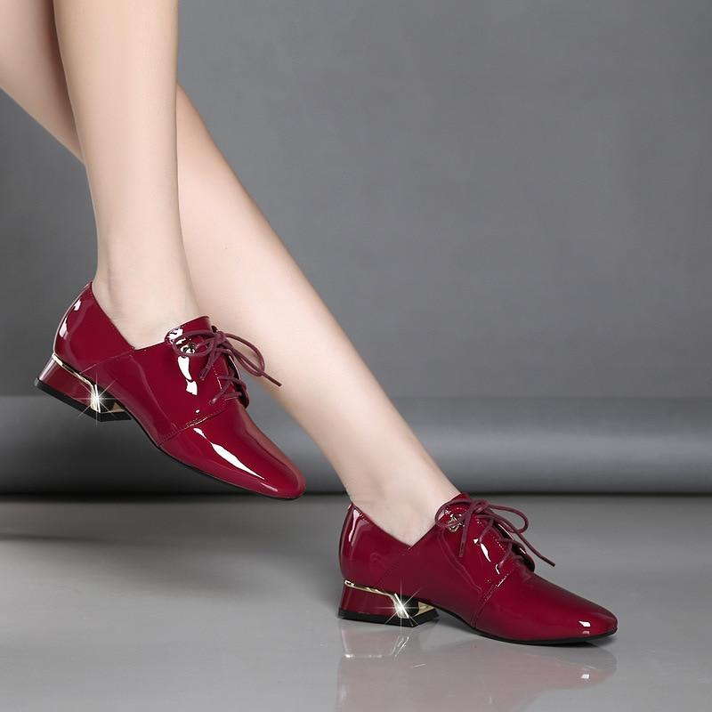 Inglaterra Las Pie Tacón Fsj Cerdo Cuero Encaje Goma Invierno Negro Cuadrado med Baja fsj02 Mujeres Zapatos Del Sólido Botas Dedo Rojo De Fsj01 Mujer Piel HPqwZHR