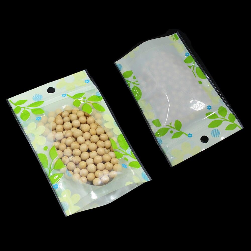 DHL Pacote Bolsa Resealable Stand Up Folha Verde Feijão Doces Frutos de Casca Rija Sacos de armazenamento W/Janela Doypack Saco Plástico Zip Bloqueio Pendure Buraco - 2