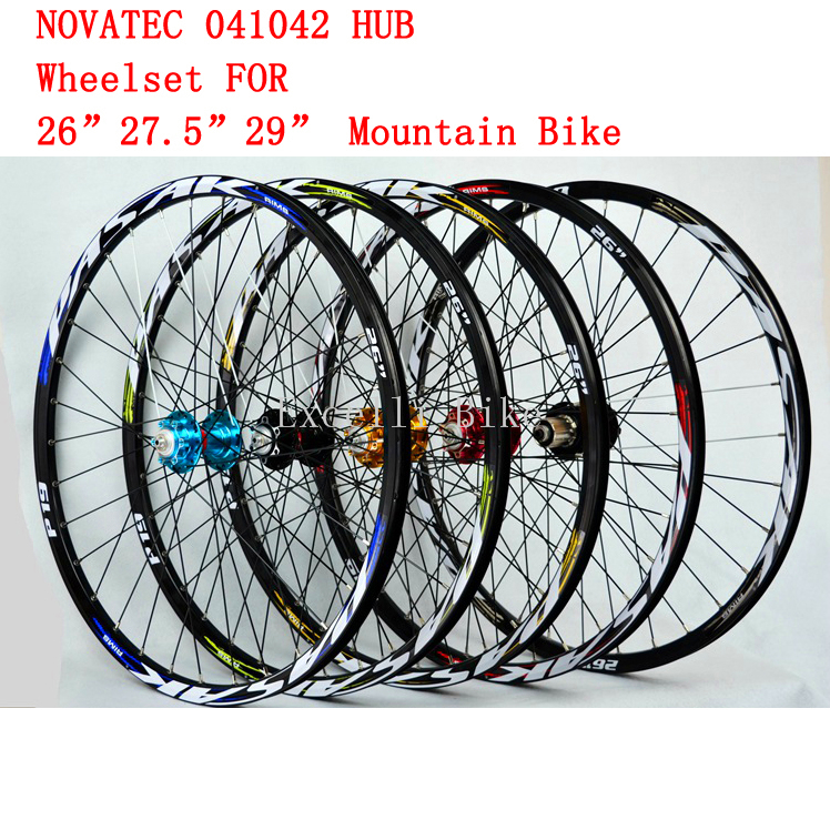 1 Pairs 2627.5 29 MTB Aluminium Alloy Wheelset 26/27.5/29er Mountain Bicicleta CNC front 4 rear 4 Bearing NOVATEC 041042 HUB